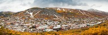 A High Resolution Panoramic Image Of Park City, Utah In The Fall With A Fresh Snow Fall.