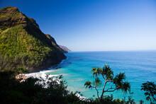 The Na Pali Coast On A Clear Day From The Island Of Kauai, Hawaii.