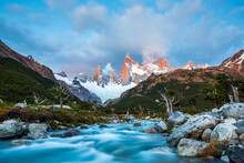 Patagonia, Argentina. A Glimpse Of Fitz Roy Just Before Sunrise On A Crisp Summer Morning.