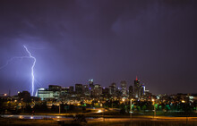 A Lightning Bolt Strikes Denver, CO During A Night Of Intense Thunderstorms During The Summer.