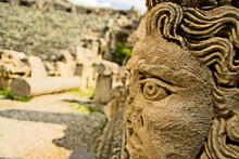 Ancient Carved Heads At An Archeological Site In Fethiye, Turkey.