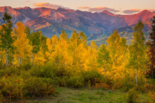 An Autumn Sunset Over The Mountains Along Country Road 12 Near Crested Butte, Colorado.