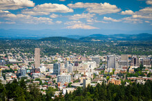 Downtown Portland, Oregon In The Afternoon, View From Above, Mount Hood In The Distance
