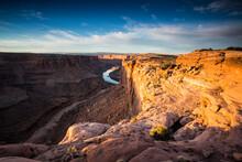 Overlook Of Canyon At Sunrise Near Moab, Utah.