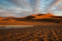 Sunset On The Dunes Of Sossusvlei, Namib-Naukluft National Park, Namibia.