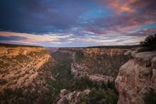 Cliff Palace Canyon. Sunset Over The Canyon Leading To Cliff Palace In Mesa Verde National Park, CO.