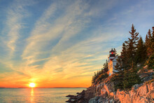 Bass Harbor, ME: Sunset At The Iconic Bass Harbor Head Lighthouse.