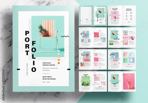Portfolio Layout with Mint Accents - fototapety na wymiar