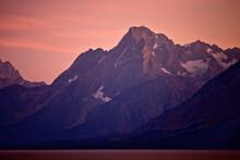 Sunset Over Jackson Lake And Tetons In Grand Teton National Park