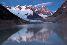 A Long Exposure Of The Reflection Of The Mountain Peak Of Cerro Torre In Patagonia, Argentina.