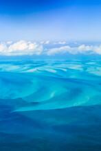 The Bahamas Bank Sandbars Aerial Shot Showcasing The Beautiful Turquoise Caribbean Waters Of The Bahamas.
