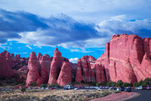 A Full Parking Lot At The Devil's Garden In Arches National Park, Utah