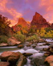 A Magical Sky Frames The Court Of The Patriarchs, Photographed From The Shore Of The Virgin River In Zion National Park.