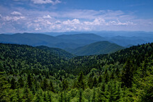 Blue Ridge Mountains With Mixed Tree Forest And Clouds, Blue Ridge Parkway, North Carolina