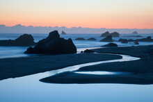 A Long Exposure Of Oregon's Harris Beach State Park At Dusk.