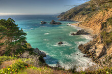 View From McWay Falls At Julia Pfeiffer Burns State Park On The Big Sur Coast Of California