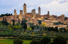 The Medieval Walled City Of San Gimignano In Tuscany, Italy.