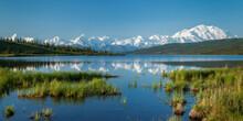 Massive Mount McKinley And The Alaska Range Reflects In Wonder Lake On A Calm Summer Morning In Denali National Park, Alaska