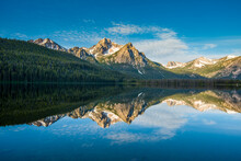 Red Fish Lake And The Sawtooth Mountain Range.