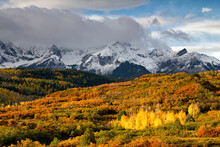 The Mt. Sneffels Range Towers Above A Valley Filled With Autumn Color At Dallas Divide Near Ridgway, Colorado