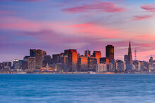 San Francisco, California. Colorful Pink Sunset Over The Skyline And Bay.
