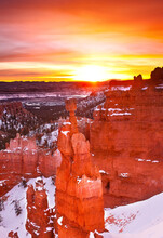 Sunrise Over Thors Hammer In Bryce Canyon National Park, Utah
