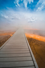Yellowstone, WY: While Walking On The Boardwalk That Surrounds The Grand Prismatic Geyser, The Vibrant Orange Colors Shine Through The Steam,