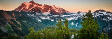 The Summer Sun Sets Over Mount Shuksan Near Artist Point In The Cascades Of Washington State.