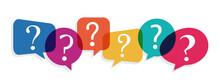 Colorful Speech Bubbles Question Mark, Vector Illustration