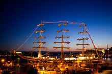 The Russian Tall Ship On A Friendship Tour Of The North Pacific, At Port Overnight In Victoria, British Columbia, Canada.