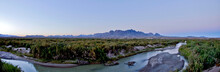 Sunset Over The Chisos Mountains And Rio Grande River Panoramic, Big Bend National Park, Texas