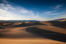 Late Afternoon At The Mesquite Sand Dunes In Death Valley National Park In California As The Sun Sets.