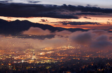 Salt Lake City Capitol Building And Fog At Sunset.