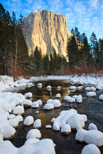 A Winter Landscape El Capitan In Yosemite National Park, USA.