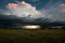 A Lightning Storm On The Horizon In The Ongava Game Reserve, Namibia.