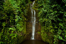 Waterfall Along Hana Highway In Maui, Hawaii