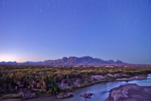 Stars Over The Chisos Mountains And Rio Grande River Big Bend National Park, Texas