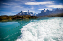 The View From The Catamaran In Torres Del Paine National Park, Chile.