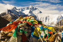 Buddhists Hang Brightly Colored Sacred Prayer Flags On Hilltops And Prominent Places Across The Tibetan Plateau, Mt. Everest.
