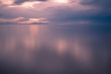 The Great Salt Lake In Utah Just After Sundown.