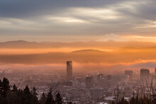 Portland, Oregon Is Cloaked In Fog On A Cold Winter Morning Just After Sunrise.