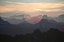 Distant View Of North Cascades Mountains At Sunset From Golden Horn, Okanogan National Forest, Washington.
