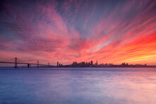 Colorful Sunset Over San Francisco Bay And The City Skyline.