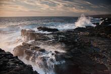 Waves Crash On The Rugged Coastline Of Ka'u, On The Southern End Of The Big Island Of Hawaii.