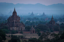 Sunrise Revealing Multiple Temples Of Bagan, Myanmar.