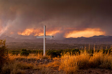 View Of Forest Fires In New Mexico At Sunset, Fires Burning Near Los Alamos Can Be Seen In Distance.