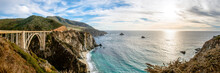 The Bixby Creek Bridge With It's Famous Back Drop Of The Pacific Ocean Along California's Dramatic Big Sur Coast.