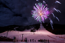 Fireworks Explode Over The Snow King Ski Resort To Celebrate The 2013 International Pedigree Stage Stop Sled Dog Race In Jackson, Wyoming.