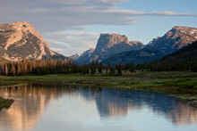 Sunset On Squaretop And The Green River Near Green River Lakes, Wind River Mountains, Sublette County Wyoming.