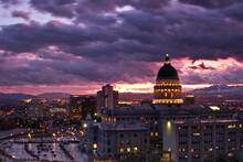 Rainy Sunset Over The Utah State Capitol Building And Downtown Salt Lake City.